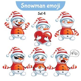 Set kit sammlung aufkleber emoji emoticon emotion vektor isoliert illustration glücklichen charakter süß, niedlichen schneemann