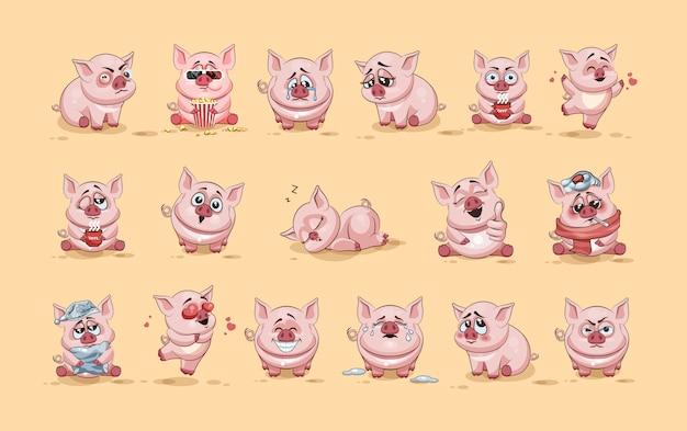 Set kit sammlung stock illustrationen isoliert emoji charakter cartoon schwein aufkleber emoticons mit verschiedenen emotionen