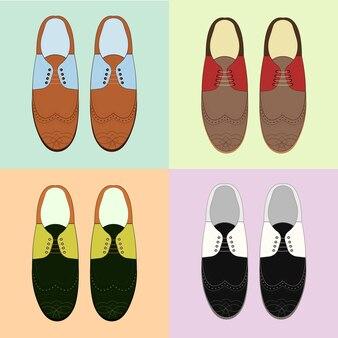 Set klassische herrenschuhe. retro-stil. verschiedene farben