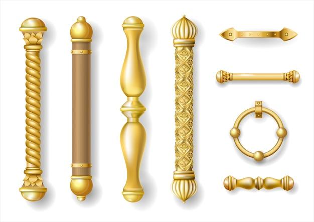 Set klassische türgriffe aus gold