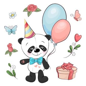 Set kleiner panda und blumen. handzeichnung. vektor-illustration