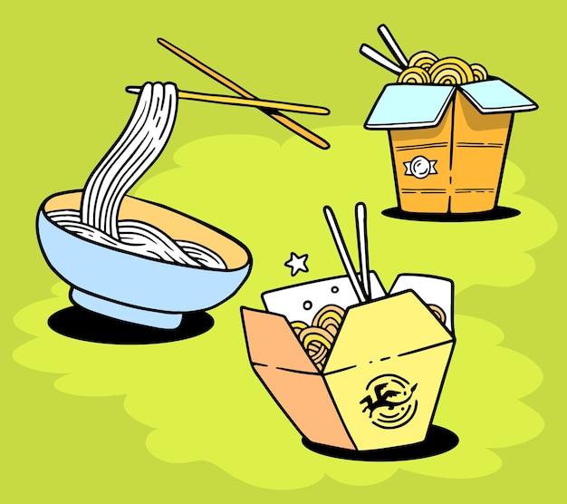 Set köstliche asiatische nudeln in schachtel und auf teller mit stäbchen