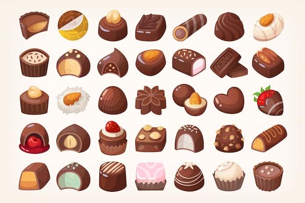 Set köstliche schokoladenbonbons