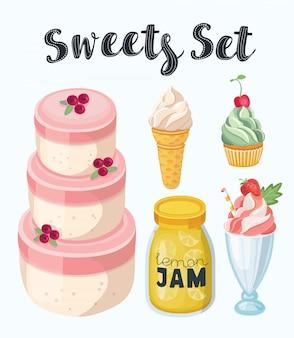 Set köstliche süßigkeiten und desserts mit erdbeergeschmack für den valentinstag