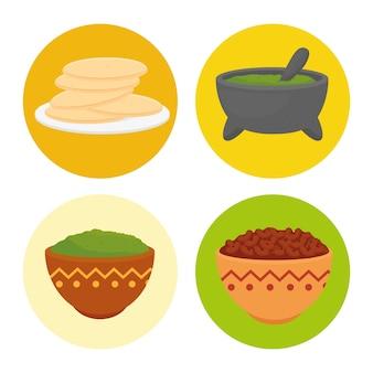 Set köstliche zutaten für die zubereitung mexikanischer speisen