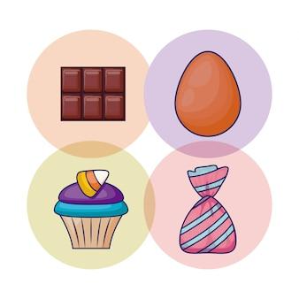 Set köstlicher kleiner kuchen und süßigkeiten