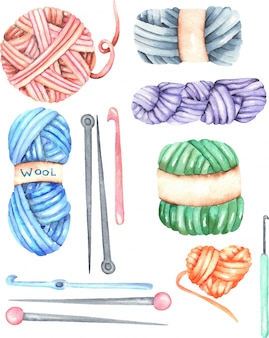 Set, kollektion mit aquarell-strickelementen: garn, stricknadeln und häkelnadeln