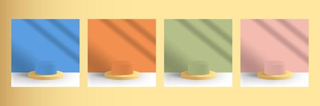 Set-kollektion von podest-bühnenplattformen für die produktpräsentation in blau-orange-grün-rosa farbe