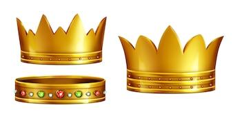 Set königliche goldene Kronen verziert mit Edelsteinen