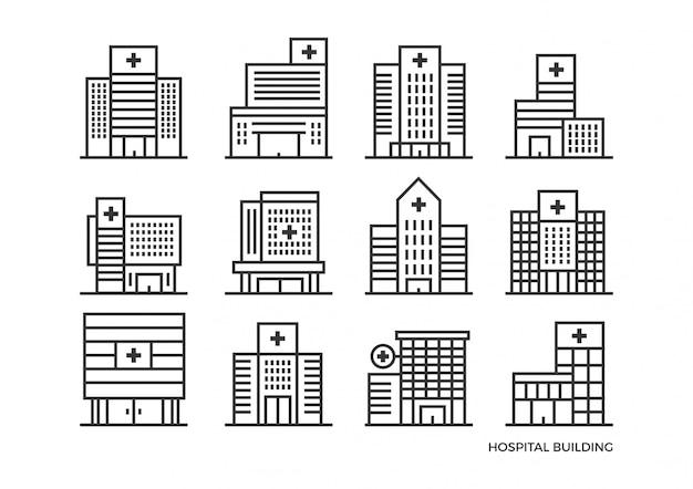 Set krankenhausgebäude symbol in linienart