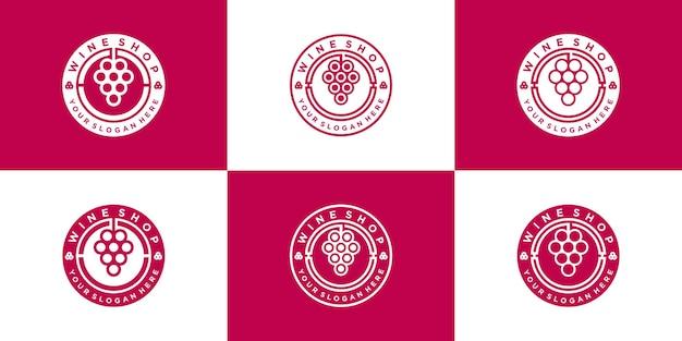 Set kreative weinladen logo design sammlung mit kreisförmigem emblem linie kunststil premium-vektor