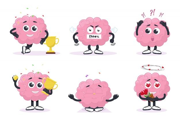 Set kreatives gehirn zeigt emotionen
