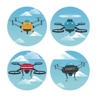 Set kreisförmigen rahmen mit himmel landschaft szene und roboter drohne mit luftschraube