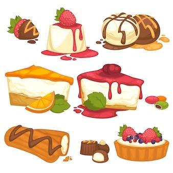 Set kuchen, süßigkeiten, eiscremewüsten mit sahne und nachtisch.