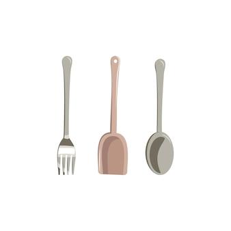 Set küchenartikel gabel löffel und pfannenwender zum kochen und essen