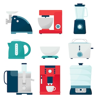 Set küchengeräte. illustration im flachen stil, kochausrüstung