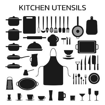 Set küchenutensilien silhouette. vektorillustration lokalisiert auf weißem hintergrund.