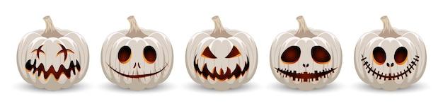 Set kürbis auf weißem hintergrund weißer kürbis mit einem lächeln für den urlaub halloween