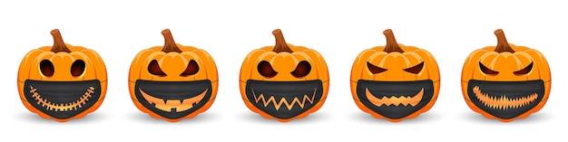 Set kürbis mit schwarzer medizinischer maske mit gruseligem lächeln oranger kürbis für den feiertag halloween