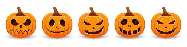 Set kürbisse auf weißem hintergrund orange kürbis mit lächeln für den urlaub happy halloween