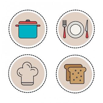 Set lebensmittel und utensilien linie symbole