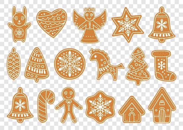 Set lebkuchen weihnachtsplätzchen