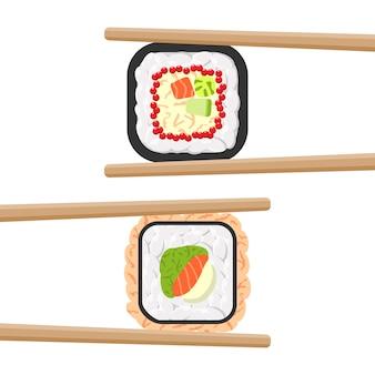 Set leckere farbige sushi-rollen mit stäbchen. verschiedene geschmacksrichtungen und arten