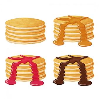 Set leckere pfannkuchen mit saucen. illustration. realistisch.