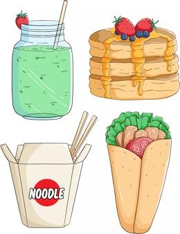 Set leckeres essen mit milchshake, nudel und burrito mit farbigem handgezeichnetem stil