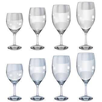 Set leerer undurchsichtiger glasbecher in verschiedenen größen für wein. in grauen und hellblauen farben
