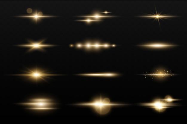 Set leuchtender stern, sonnenpartikel und funken mit highlight-effekt