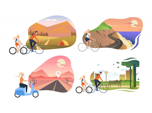 Set leute, die fahrrad fahren