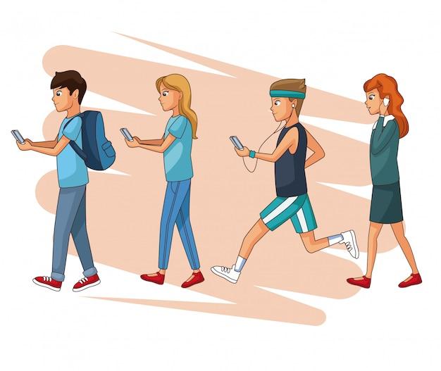 Set leute, die smartphone verwenden