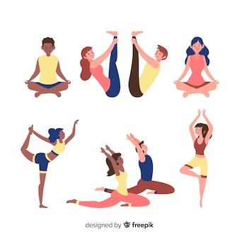 Set leute, die yoga tun