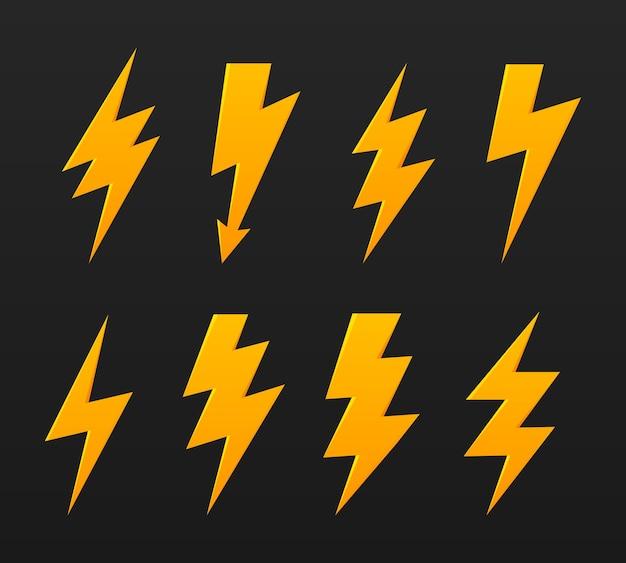 Set lightning thunder bolt vector icon elektrisches zeichen thunderbolt symbol Premium Vektoren