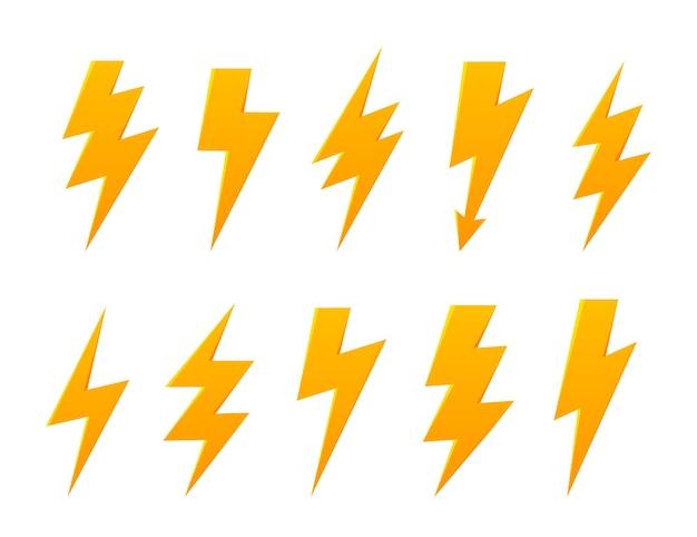 Set lightning thunder bolt vector icon elektrisches zeichen thunderbolt symbol