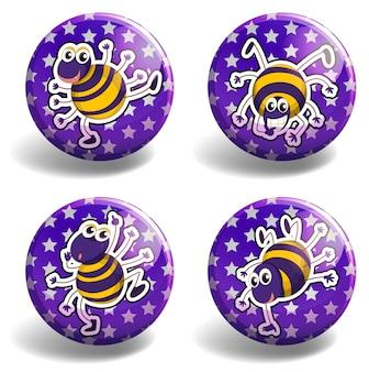 Set lila abzeichen mit käfern
