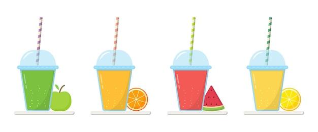 Set limonade im glas mit kappe und strohhalmillustration