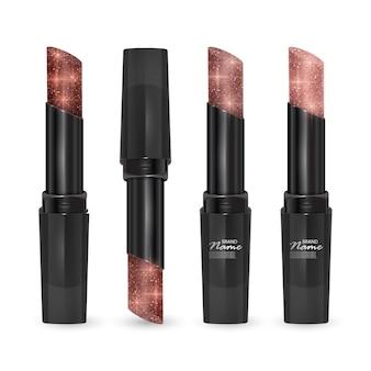 Set lippenstifte in farben von braun bis körper, lippenstifte mit glitzernder textur