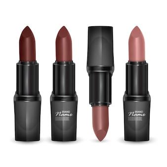 Set lippenstifte in farben von braun bis körper, lippenstifte