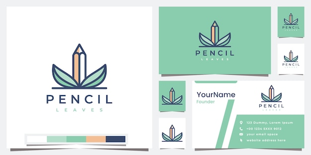 Set logo bleistiftblätter mit farbversion logo design inspiration