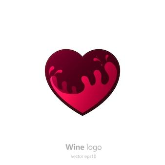 Set logo rund mit einem glas wein. kapsel mit flüssigkeit in bewegung.
