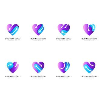 Set love tech logo, liebe und technologie, kombinationslogo mit 3d-blau- und lila-farbstil