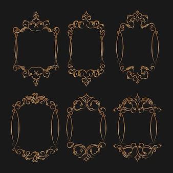 Set luxuriöser rahmen mit goldener farbe