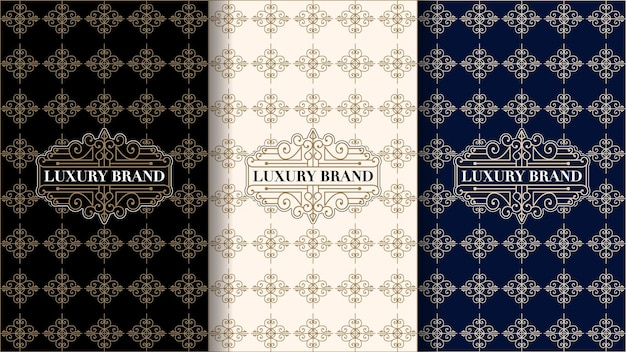 Set luxuriöser vintage-etiketten mit logo und rahmen für die produktverpackung von produktbox und bucht