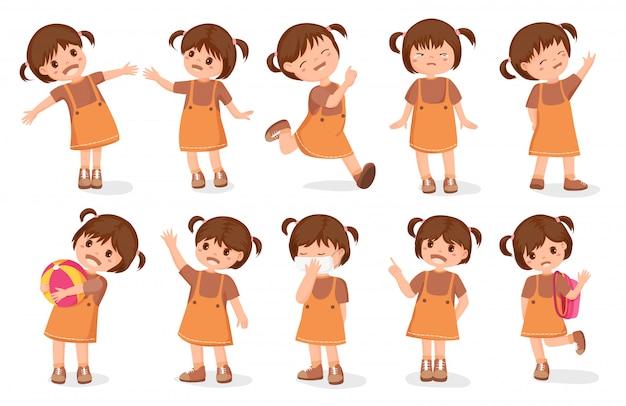 Set mädchen zeichen cartoon-stil