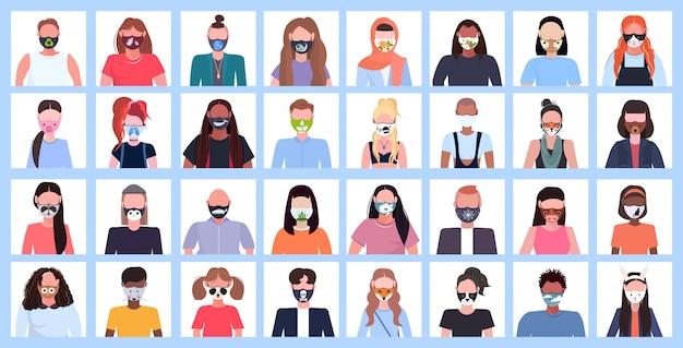 Set männer frauen tragen schützende gesichtsmaske mit verschiedenen symbolen smog luftverschmutzung virusschutz konzept mix rasse menschen profil avatare weibliche männliche comicfiguren porträt flach horizontal