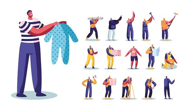 Set männliche charaktere vater mit babykleidung, architekten oder baumeister mit arbeitswerkzeugen und instrumenten, hausrenovierung