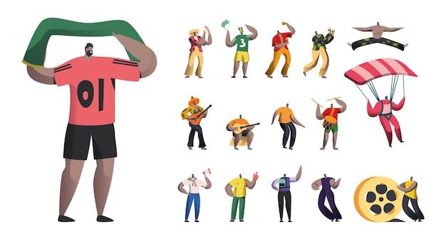 Set männlicher charaktere, sportfan mit flagge, brasilianischer karnevalsmusiker mit maracas, männertänzer und mariachi-spieler