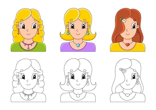 Set malvorlagen für kinder. nette zeichentrickfiguren.